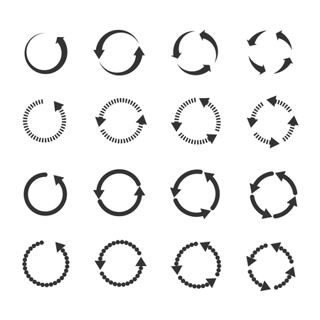 newest: Circle refresh reload rotation loop vector arrows set. Sign reload with arrow and illustration rotation arrows symbol Illustration
