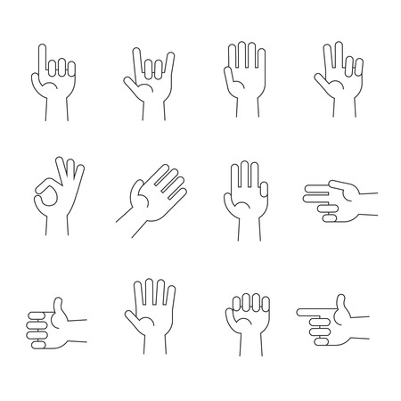 horn like: Hands line vector icons set. Human hands gesture and illustration pointer and direction hand