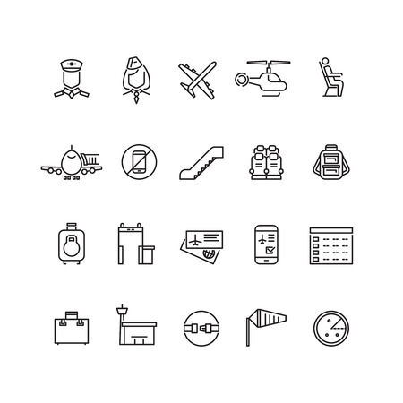 Aviation outline vector icons set. Air travel concept icon and illustration baggage and detector metal for air travel