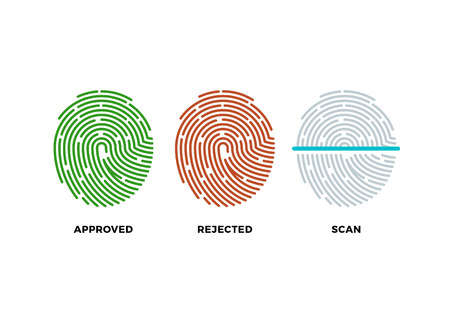 odcisk kciuka: Fingerprint thumbprint vector icons set. Approved, rejected and scan symbols. Approved person with fingerprint, identification with thumbprint or fingerprint