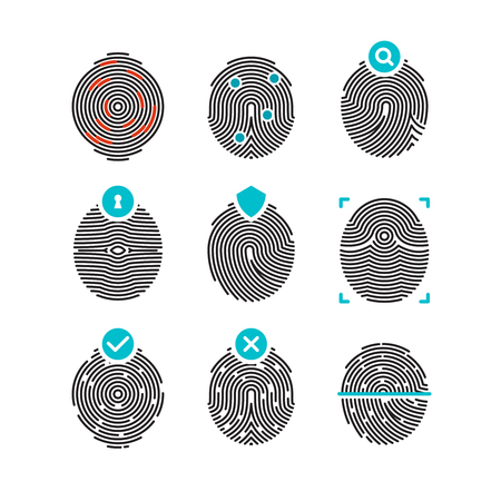 dactylogram: Fingerprint vector icons. Identity fingerprint or thumbprint, security biometric symbols. Identification and authorization with fingerprint, illustration unique human fingerprint