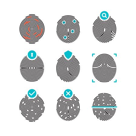 odcisk kciuka: Papilarnych ikon wektorowych. odcisk palca lub tożsamości, bezpieczeństwa symbole biometryczne. Identyfikacja i autoryzacja z odcisków palców, Ilustracja unikatowy odcisk ludzkiej