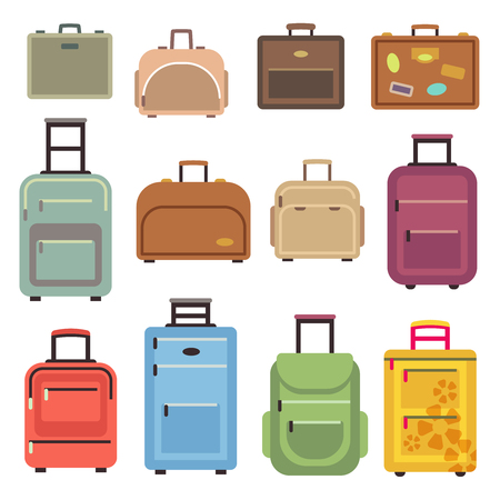 valise: Travel luggage and set of travel bag, suitcase vector flat icons illustration