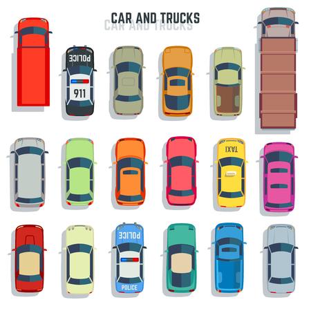 Coches y camiones Vista superior vector iconos planos. Conjunto de coche y coche sedán para la ilustración de transporte