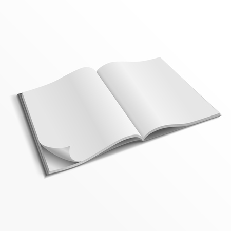magazine template: Blank opened magazine cover vector template. Empty paper magazine mockup