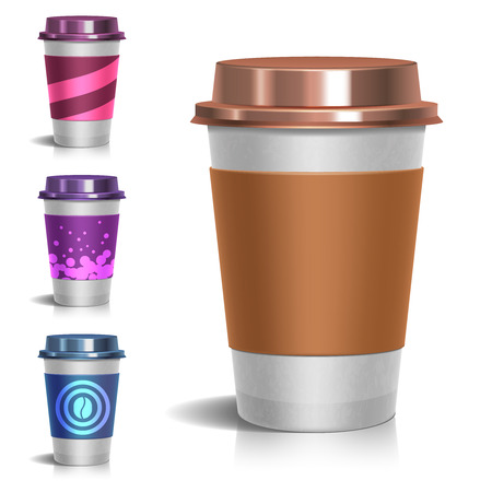 takeout: Realistic paper take-out coffee cup. Set of paper mug for coffee illustration Illustration