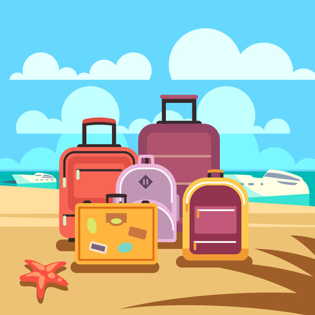 valise: Traveling planning, summer vacation, tourism vector background with passenger luggage. Summertime travel and baggage for summer journey illustration