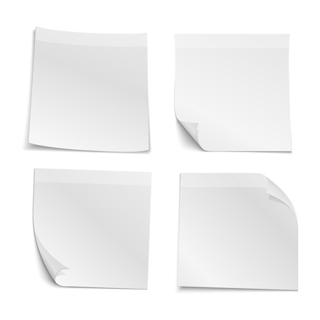 pasted: White blank stick note papers vector collection. Reminder note and paper curl note illustration Illustration