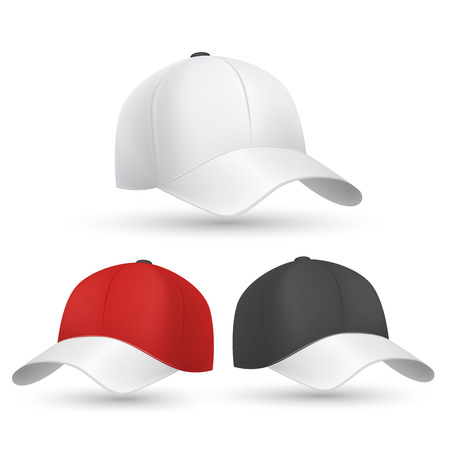 Baseball cap black, white and red vector templates. Cap for protection head from sun and illustration model cap for baseball