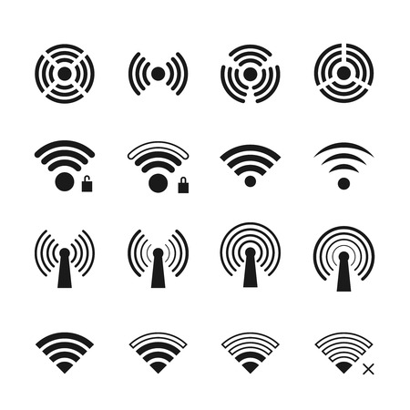 wireless connection: Wireless and wifi vector icons. Wifi connection symbols and wireless connection signs