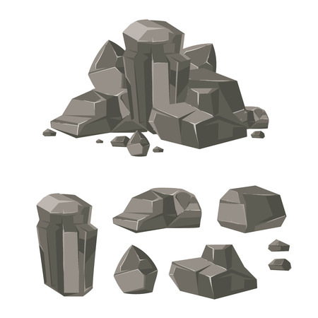 Cartoon rock boulder stone vector. Set of stone and boulder, illustration cartoon stone