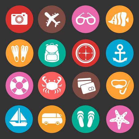 sunglasses recreation: Holiday travel tourism vector icons. Summertime icon for travel holiday, illustration summer holiday icons