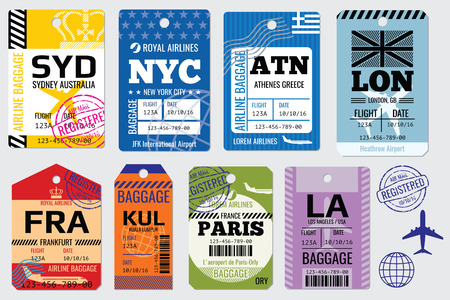 Retro baggage tags and travel tags stock. Illustration set of tag for baggage