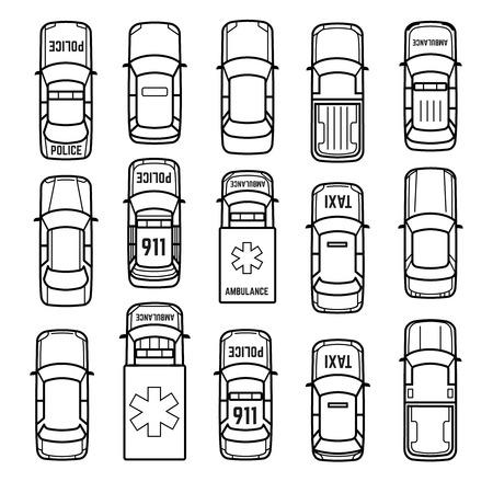 자동차는 최고 얇은 줄의 아이콘을 볼 수 있습니다. 선형 스타일 그림에서 모델 자동차 세단 형 자동차, 택시 및 구급차 자동차의 집합