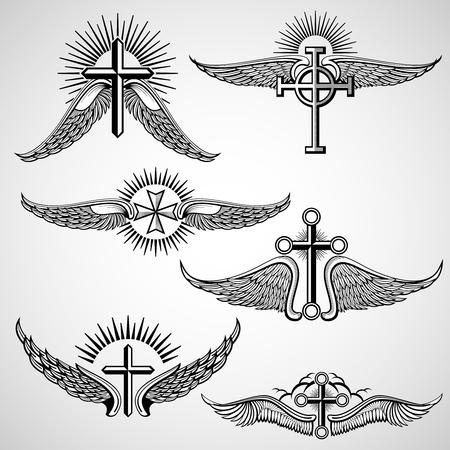 croce d'epoca e le ali elementi tatuaggio vettore. tatuaggio d'epoca con ala, tatuaggio illustrazione con croce Vettoriali