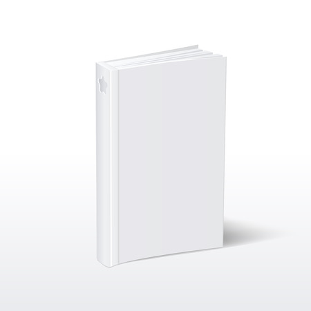 hardcover: Blank vertical white softcover book standing on table perspective view. Mockup book for education and publish, vector book with hardcover illustration