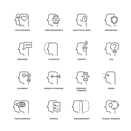 alter: Human mind process, brain features line vector icons set. Brain human and process of psychology brain illustration Illustration