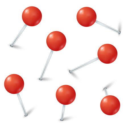 Red map pin markers . Collection pins fixed and illustration pin with red button