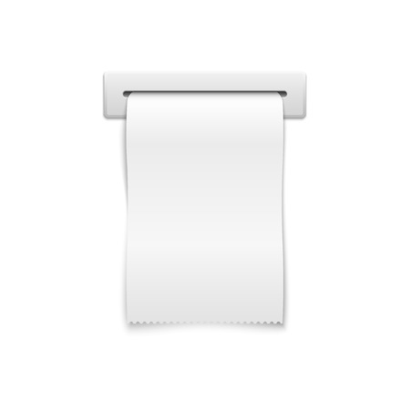 Blank shopping cash receipt. Template financial cash receipt, paper cash receipt in slot illustration