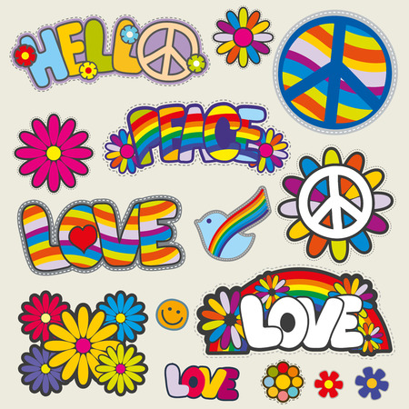 Retro hippie patches emblems. Love and peace patches, illustration set of patches for hippie