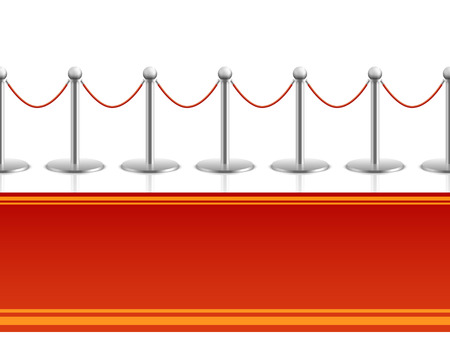 velvet rope barrier: Red carpet with barrier rope seamless background. Carpet for entertainment and entrance, seamless carpet for premiere event. illustration Illustration