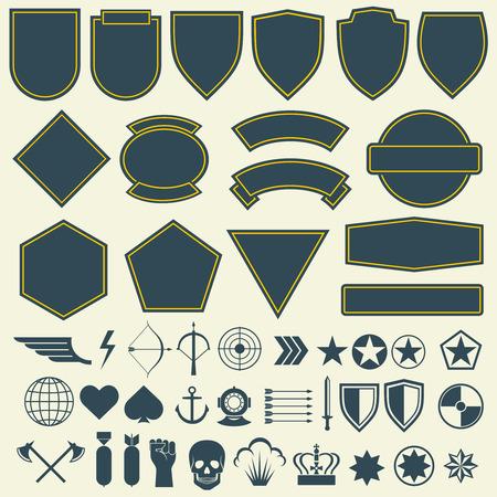 éléments pour militaires, patchs militaires, badges. Ensemble d'insigne pour l'armée et l'emblème militaire pour patch et illustration de l'armée