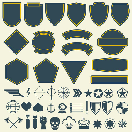 Elemente für Militär, Armee-Patches, Abzeichen. Set von Abzeichen für die Armee und militärische Emblem für Patch- und Armee Illustration