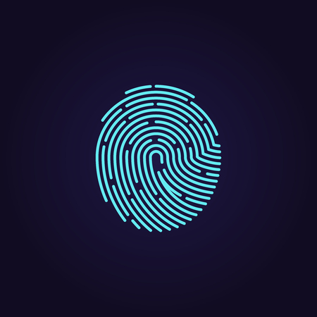 human touch: Id app fingerprint icon. Fingerprint pattern for security and protection, illustration password with touch fingerprint Illustration