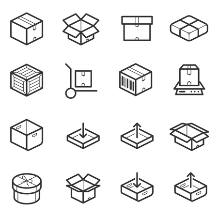 crates: Package line thin icons set. Boxes, crates, containers and package for shipping. Illustration package box for delivery and transportation