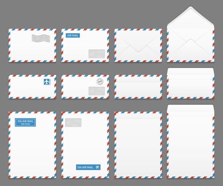 letter envelopes: Air mail paper letter envelopes vector set. Blank envelope for airmail, illustration of correspondence envelopes