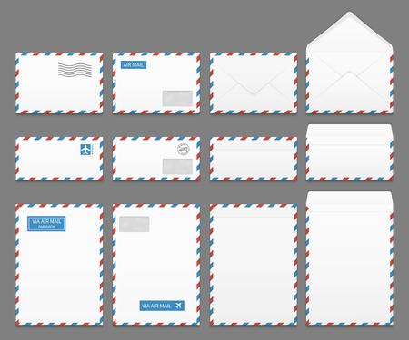 Luftpost-Set Papier Briefumschlägen Vektor. Blank Umschlag für Luftpost, Illustration der Korrespondenz Umschläge