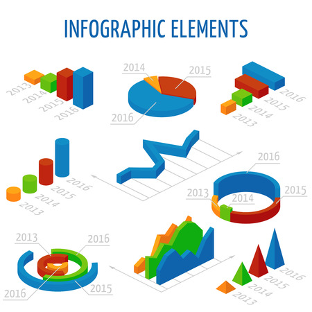 pyramidal: Isometric 3d charts set for infographics. Business graph and chart for report, illustration pie chart for presentation data illustration Illustration