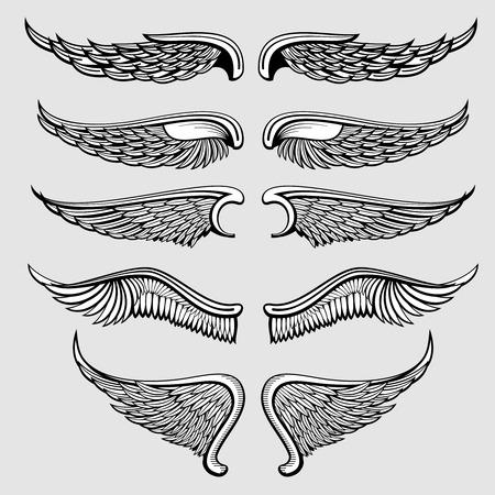 Heraldische vogel, engelenvleugels te stellen. Vleugels engel tattoo, illustratie gotische vleugels adelaar