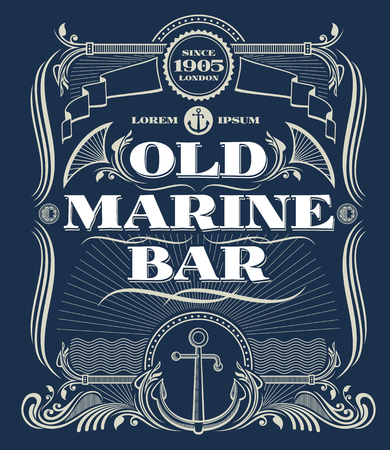 old bar: Vintage border western frame, old marine bar label. Illustration frame with anchor for marine bar and nautical old bar Illustration