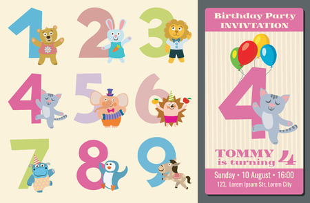 kids birthday party: Kids birthday anniversary numbers with cartoon animals and birthday party invitation card illustration