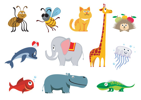 Zoo animals set. Wild isolated animal elephant and giraffe, illustration animals character hippo and dolphin