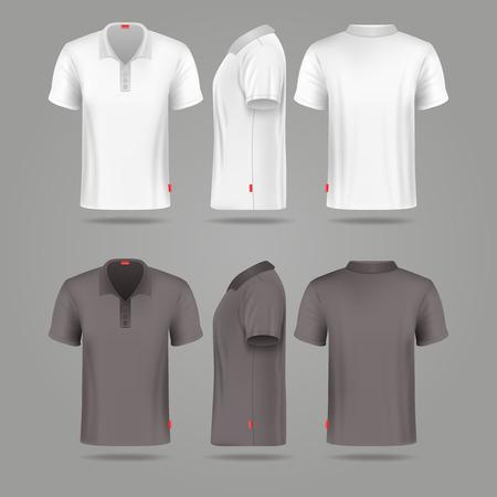 Biały czarny mężczyzna polo t-shirt z przodu do tyłu i bocznym widokiem na makietach. Szablon mody tshirt dla sportu ilustracji