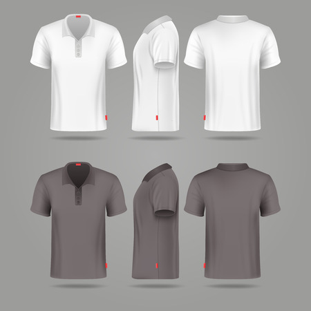 White black mens polo t-shirt front back and side views mockups. Template fashion tshirt for sport illustration