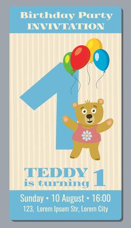 Geburtstags-Party Einladungskarte mit niedlichen Bären Vektor-Vorlage 1 Jahr alt. Einladung zur Party ersten Geburtstag, Abbildung Banner Einladung mit Bär Vektorgrafik