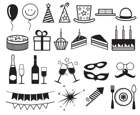 champagne celebration: Celebration, party vector icons. Champagne and cake for party, illustration gift and party elements Illustration