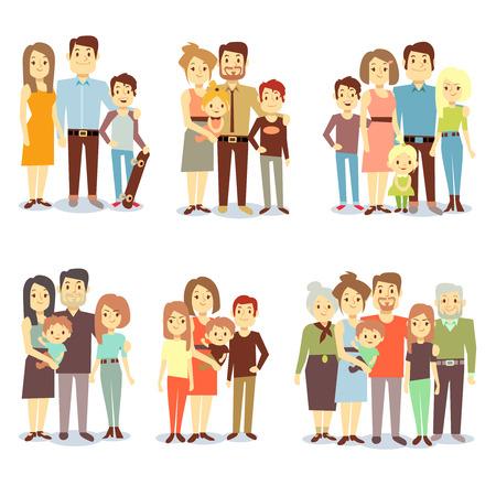 Familias diferentes tipos de iconos vectoriales planos. Conjunto de familia feliz, la ilustración de los grupos de familias diferentes
