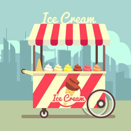carretto gelati: Vector gelato ice cream cart. Food dessert ice cream and summer cart with ice cream in waffle cone illustration