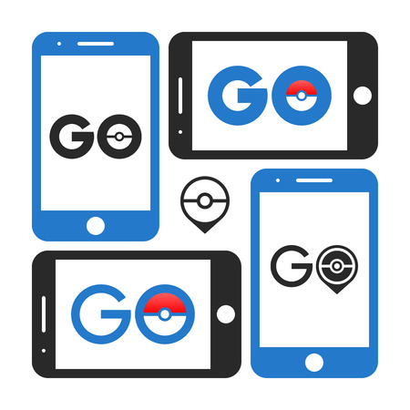 editorial design: Smartphone application GO game logo screens on white background vector Illustration