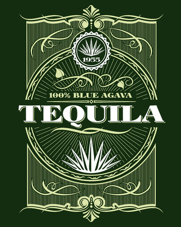 Vintage alcohol tequila drink vector bottle label. Sticker or poster for tequila tipple