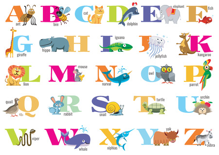 preschoolers: English alphabet for children with cute animals. Vector letter poster for preschoolers