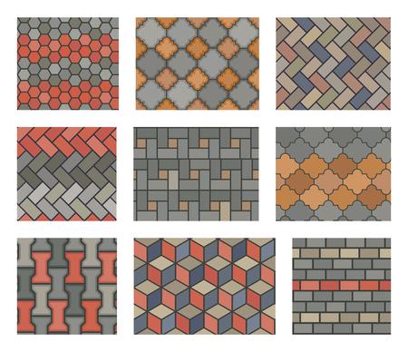 Senza soluzione di continuità piastrelle di pietra insieme marciapiede vettore. elementi di progettazione del paesaggio. Modello di pavimentazione di pietra e illustrazione piastrelle di pietra Vettoriali