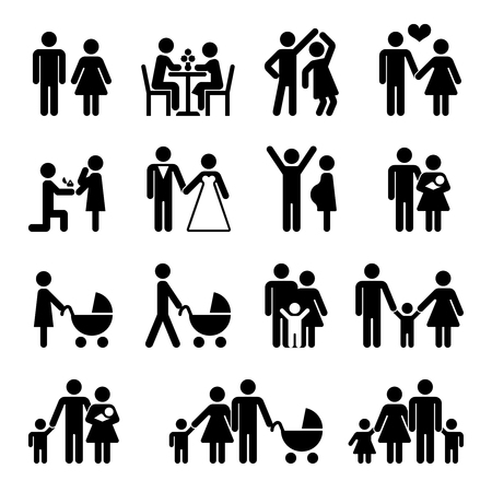 black family: People family vector icon set. Love and family life black pictograms illustration
