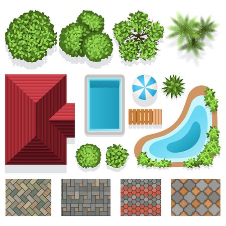 Elementos del vector del diseño del paisaje del jardín para el plan de la estructura. Arquitectura, ilustración, diseño del paisaje con plantas verdes, la casa y la vista superior de la piscina Ilustración de vector