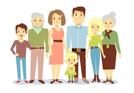 Gelukkig familieportret, vector vlakke karakters. Opa en oma, papa en mama, kinderen. Grote familie illustratie