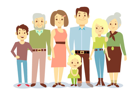 Happy family portrait, vector flat characters. Grandfather and grandmother, mom and dad, kids. Big family illustration Illustration